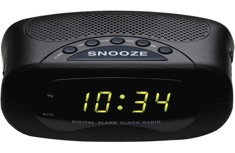 alarm clock radio w digital led display am fm snooze sleep black travel radio ebay. Black Bedroom Furniture Sets. Home Design Ideas