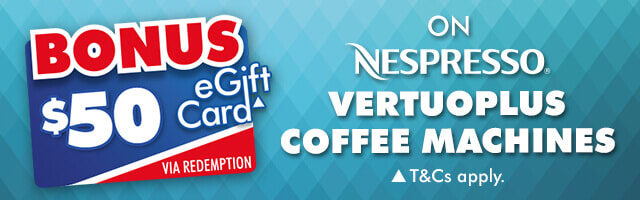 Bonus $50 eGift Card on Nespresso VertuoPlus | The Good Guys