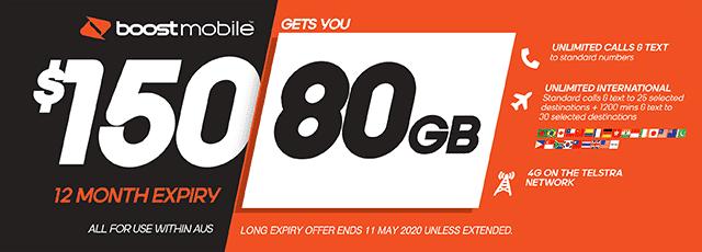 Boost Mobile $150 plan - 80GB | The Good Guys | The Good Guys
