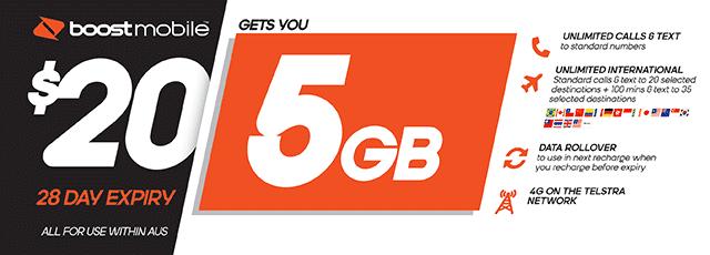 Boost Mobile $20 plan - 5GB | The Good Guys | The Good Guys