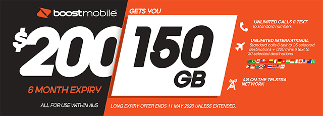 Boost Mobile $200 plan - 150GB | The Good Guys | The Good Guys