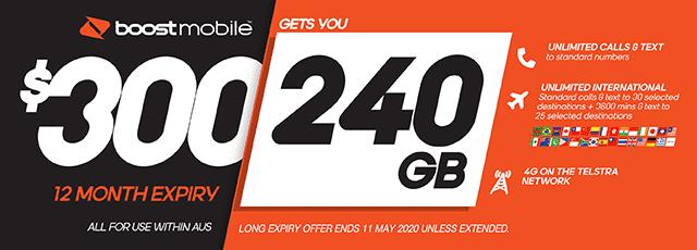 Boost Mobile $300 plan - 240GB | The Good Guys | The Good Guys