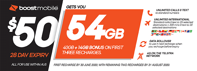 Boost Mobile $50 plan - 54GB | The Good Guys | The Good Guys