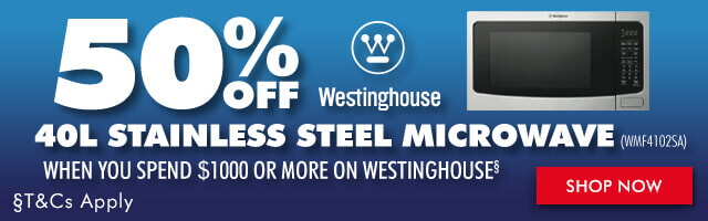 Get 50% off Westinghouse 40L Stainless Steel Microwave (WMF4102SA) when you spend $1000 or more on any Westinghouse Cooking appliance/s | The Good Guys