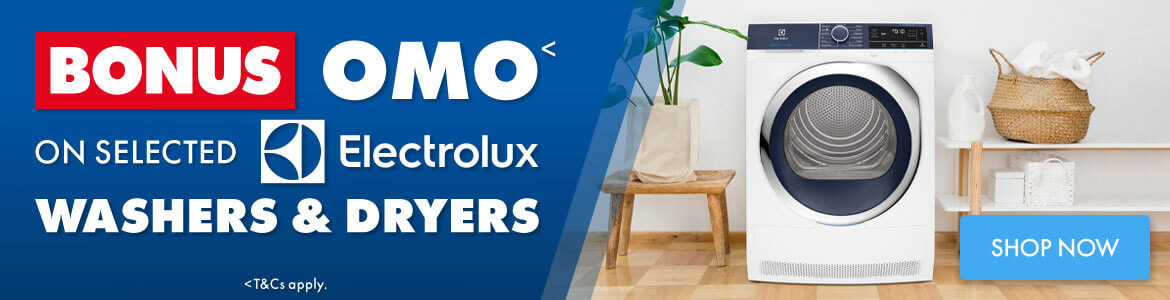 Bonus OMO on selected Electrolux Washers and Dryers | The Good Guys