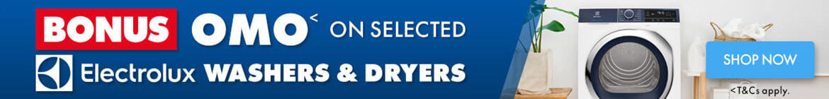 Bonus OMO on selected Electrolux Washers and Dryers   The Good Guys