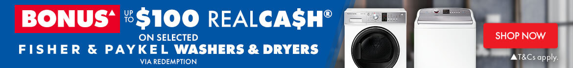 Bonus up to $100 Realca$h on selected Fisher & Paykel Washers & Dryers | The Good Guys