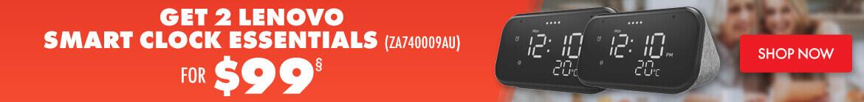 Get 2 Lenovo Smart Clock Essentials (ZA740009AU) for $99 | The Good Guys