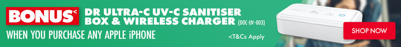 Bonus Dr Ultra-C UV-C Sanitiser Box & Wireless Charger (DOC-UV-003, DOC-UV-003) when you purchase any Apple iPhone | The Good Guys