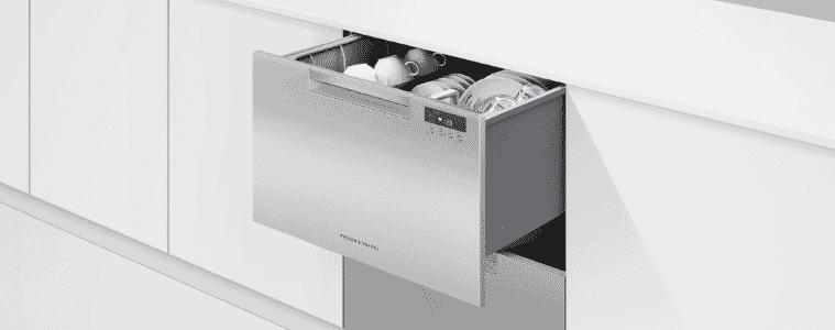 Stainless steel double Fisher & Paykel dishdrawer in minimalist kitchen.