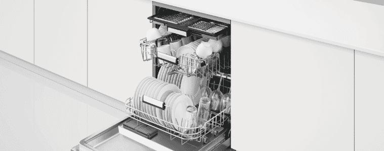 Modern stainless steel Fisher & Paykel freestanding dishwasher with cutlery tray in minimalist modern kitchen.