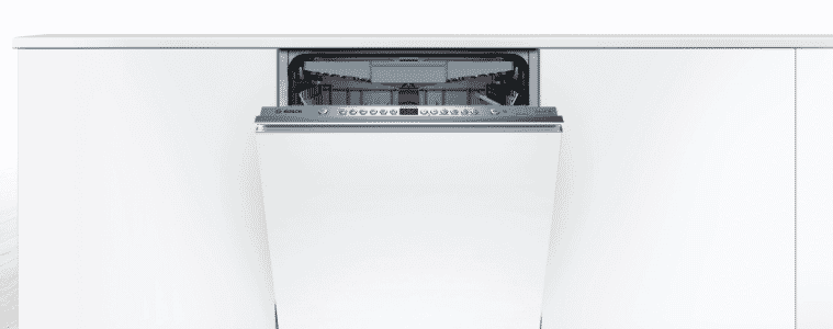 Bosch dishwasher fully integrated into kitchen cabinetry for a seamless look.