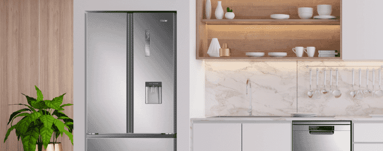 Modern stainless steel French door fridge with ice and water dispenser dishwasher in stylish kitchen   The Goode Guys