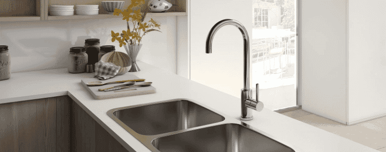 Classic stainless steel sink and matching stainless steel gooseneck mixer tap in contemporary styled kitchen   The Goode Guys