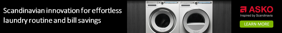Asko washing machines and dryers simplify laundry life. Available at The good Guys.