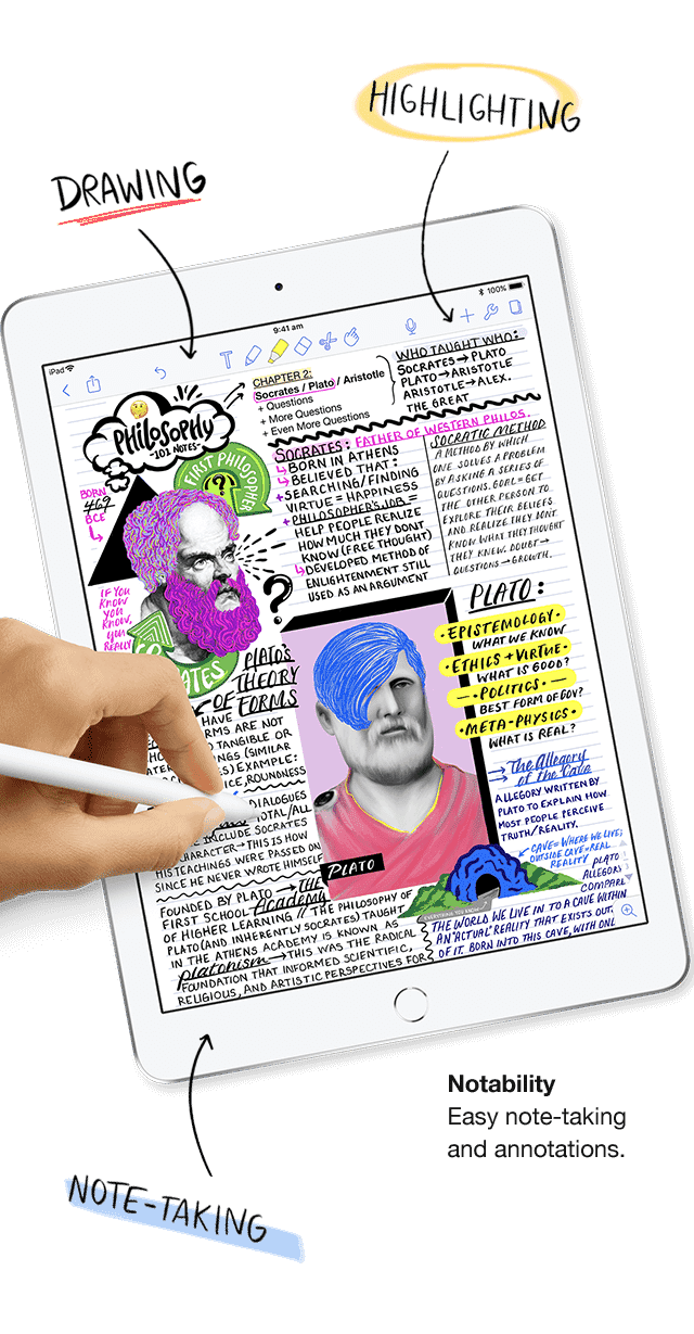 The new Apple iPads support Apple Pencil, so you can take notes, jot down ideas, draw a diagram and more. Shop now at The Good Guys.