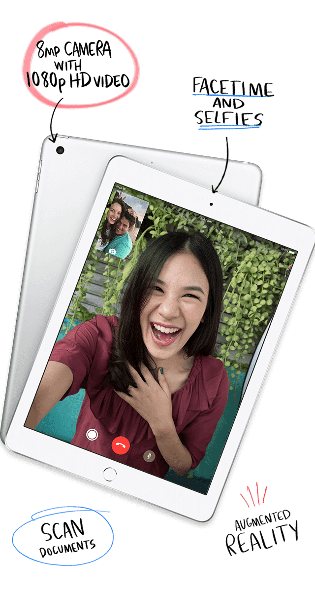 Apple iPads offer amazing front and rear cameras, so you can take awesome selfies, create amazing videos and more. Shop now at The Good Guys.