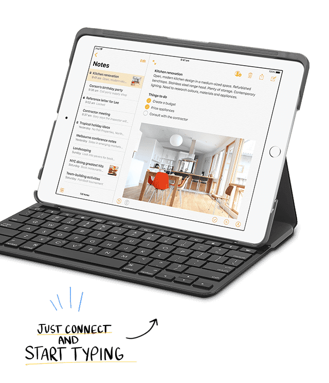 Connect your Apple iPad to the optional Bluetooth keyboard to make writing documents easy. Shop now at The Good Guys.