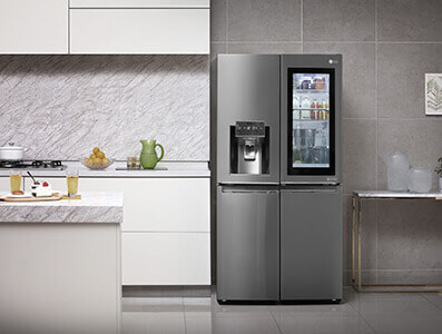 LG French door fridges are stylish and packed with amazing features to complement your modern kitchen. Shop now at The Good Guys.