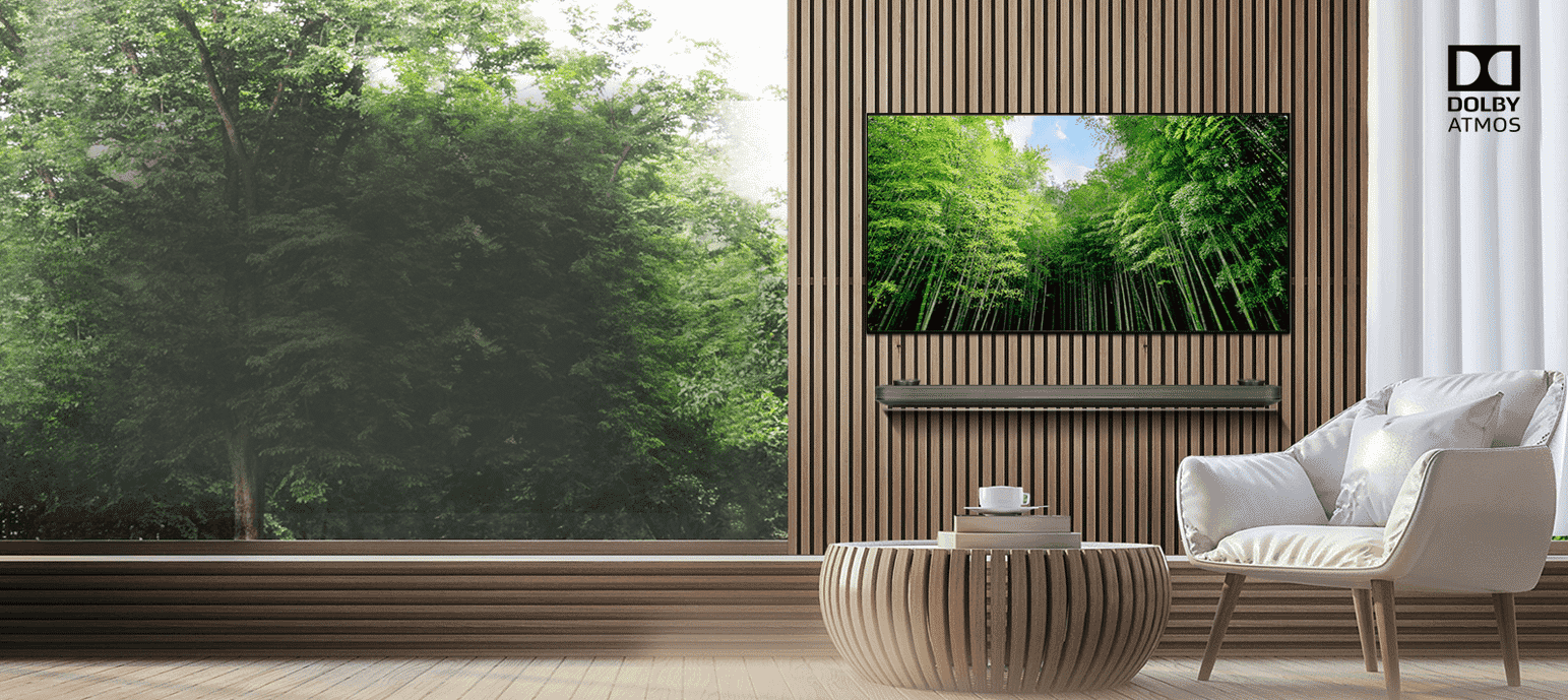 The new LG SIGNATURE OLED Wallpaper TV comes with Dolby Atmos® soundbar for 360° ...