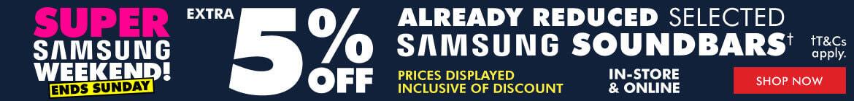 5% off Selected Samsung Soundbars | The Good Guys