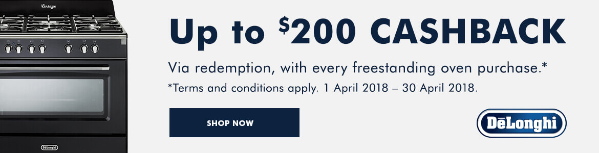 Claim up to $200 cashback on selected Delonghi upright cookers | The Good Guys