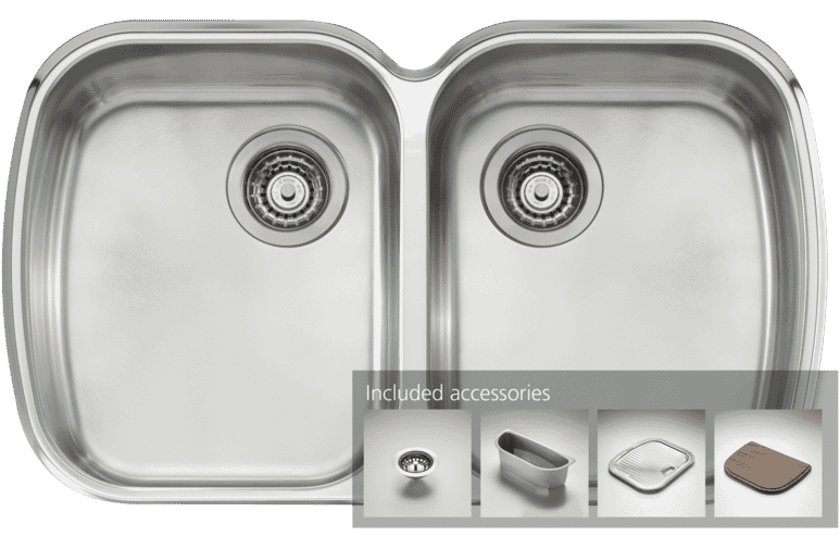 oliveri mo70u monet double bowl undermount sink at the good guys - Oliveri Undermount Kitchen Sinks