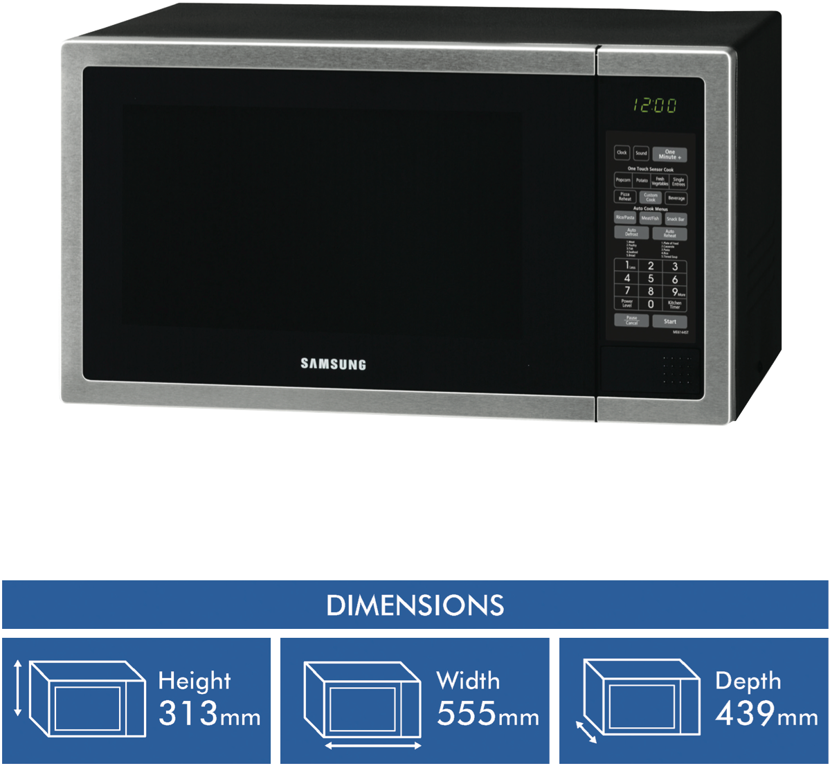 Samsung Me6144st 40l 1000w Stainless Steel Microwave At