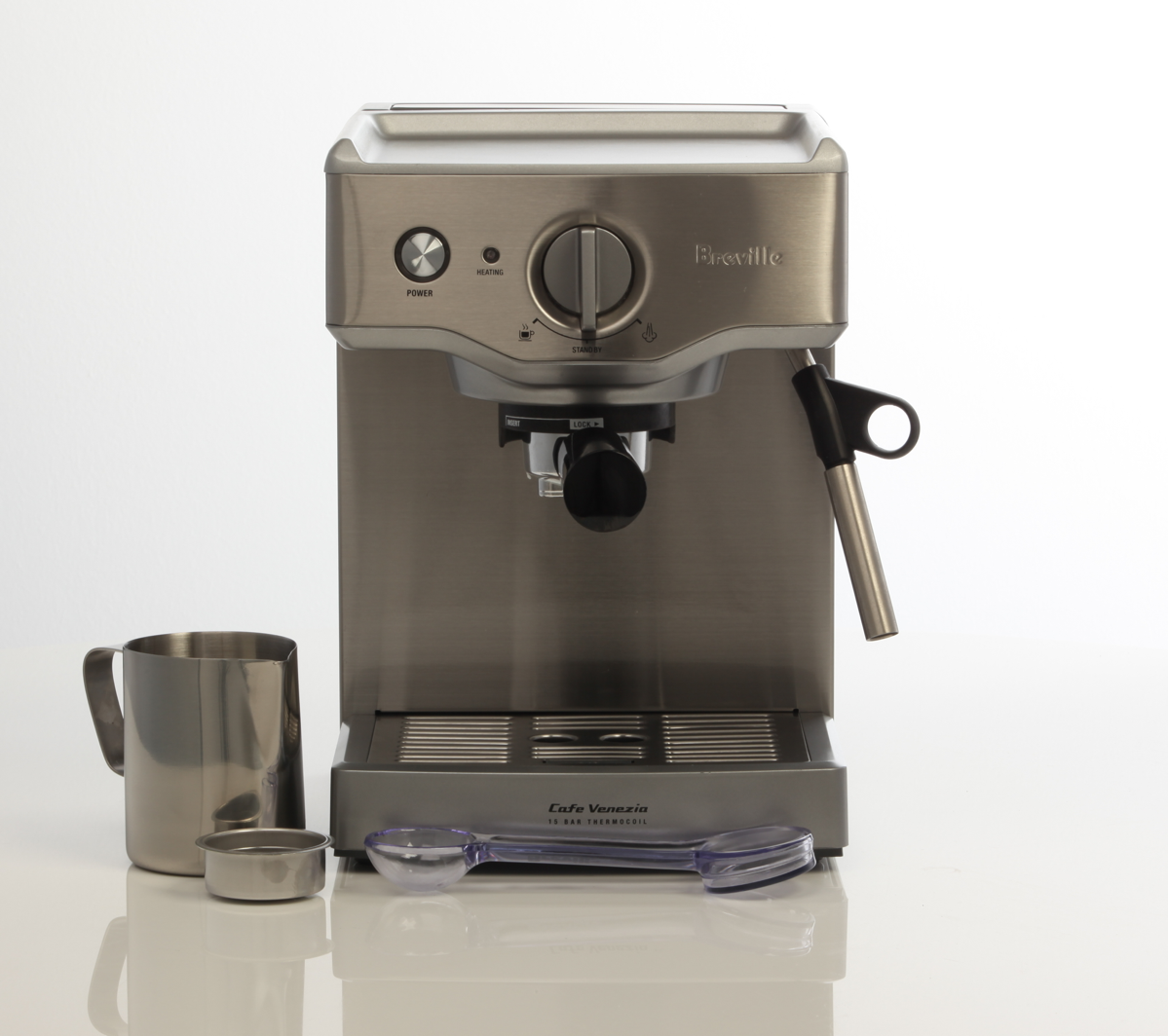 Breville Coffee Maker Gold Filter : Breville BES250BSS Compact Cafe Espresso Machine at The Good Guys