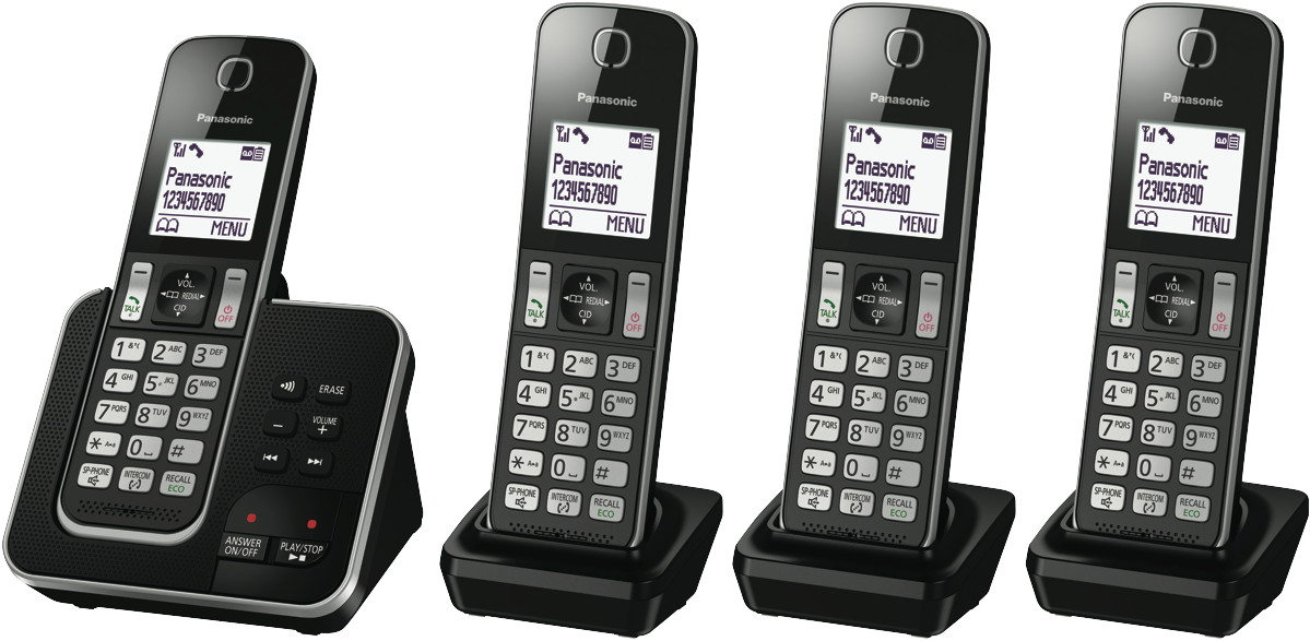 Panasonic KX-TGD324ALB Quad Pack Cordless Phone at The Good Guys