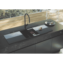 OliveriBlack Double Bowl Glass Top Sink50070342